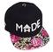 Black/ hawaiian floral snapback hat