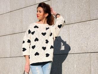 sweater white heart