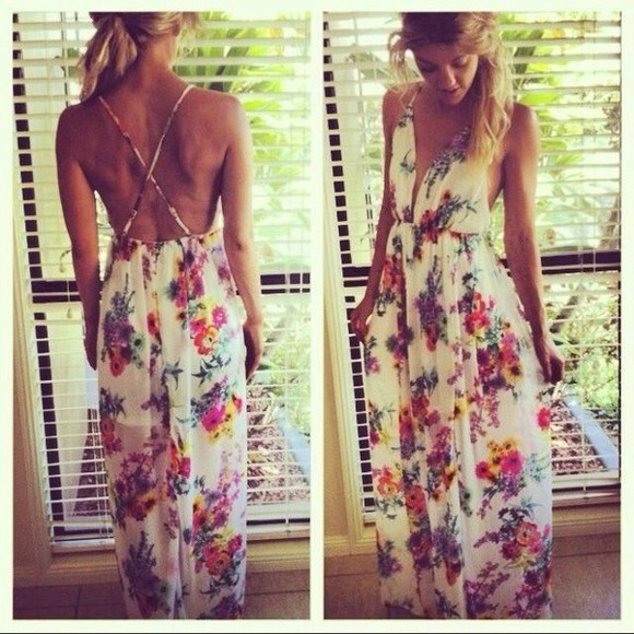 dress sundress floral white dress summer dress gorgeous colorful dress crossback floral, hippie, boho, summer, maxi floral maxi