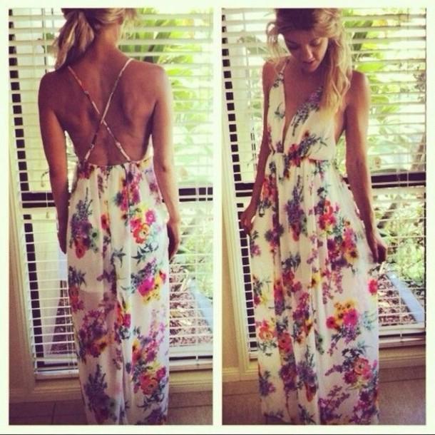 7b01034880 dress floral hippie boho maxi floral maxi dress maxi dress open back dresses  deep plunge neckline