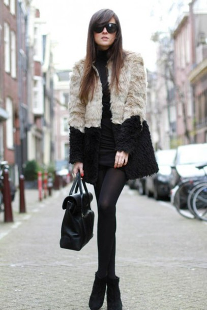 coat fur brown beige jacket black coat