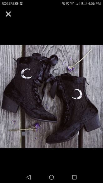 shoes black lace boots boho witch booties moon granny witchy wiccan dark grunge stars night