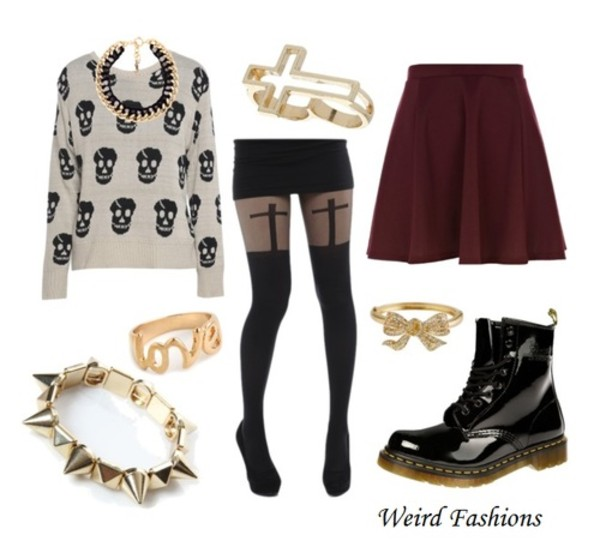 skirt cross ring love ring gold ring bow ring burgundy skirt skull sweater chain DrMartens jewels shoes sweater socks cross skull