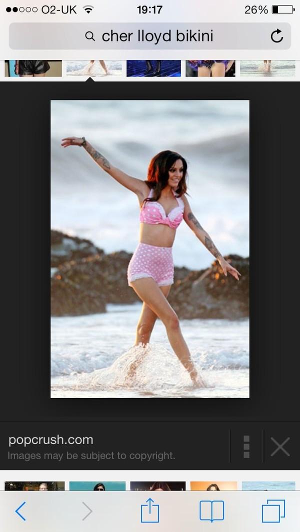 swimwear cher lloyd bikini oath pink polka dots
