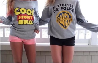sweater cute top fashion funny sweater grey sweater bff quote on it