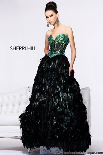 dress feathers black dress