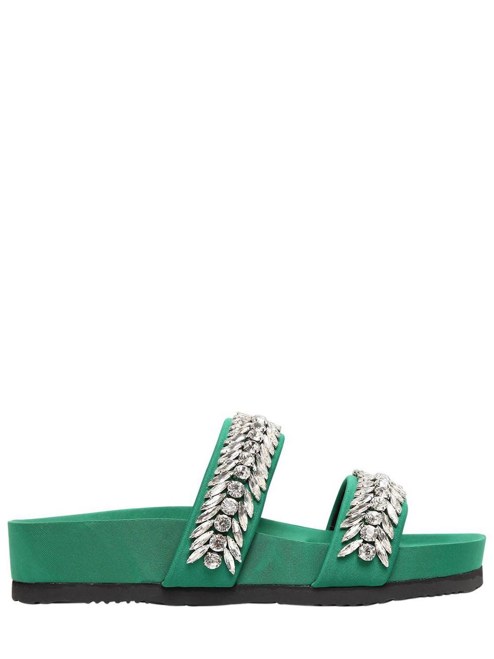 SUECOMMA BONNIE 20mm Embellished Neoprene Slide Flats in green