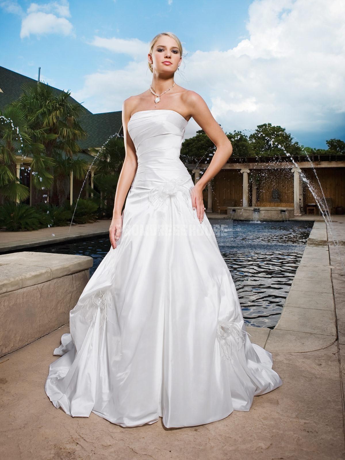 Taffeta ball gown flowers chapel train wedding dress