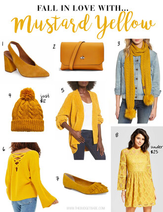 thebudgetbabe blogger shoes bag scarf hat cardigan sweater dress yellow dress yellow shoes yellow bag winter outfits fall outfits