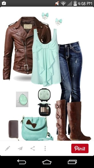shirt teal cute top jacket jeans dark wash jeans white-stitching shoes boots