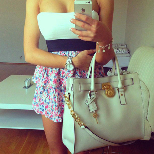 dress summer vintage indie hipster pink blue white white dress bag floral floral bandeau top floral dress michael kors bag