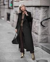 beige renegade,blogger,coat,pants,t-shirt,bag,shoes,black coat,handbag,winter outfits,brown pants,ankle boots,gold shoes