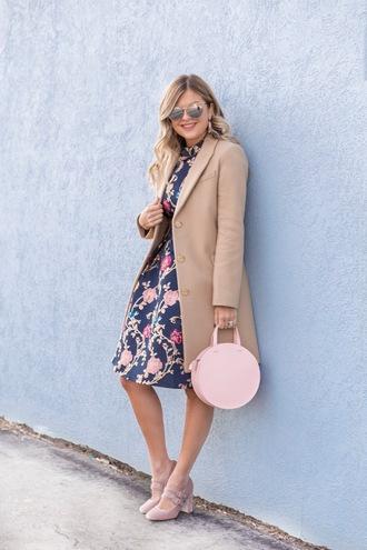 suburban faux-pas blogger coat dress shoes bag sunglasses jewels round bag beige coat winter outfits pumps floral dress