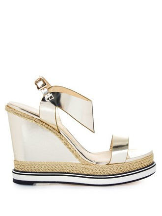 sandals wedge sandals leather gold shoes
