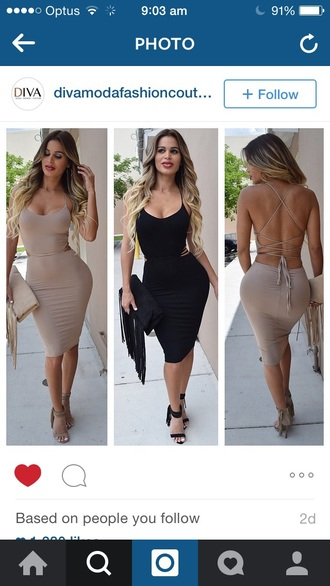dress tie up bodycon dress black tan taupe beige midi dress