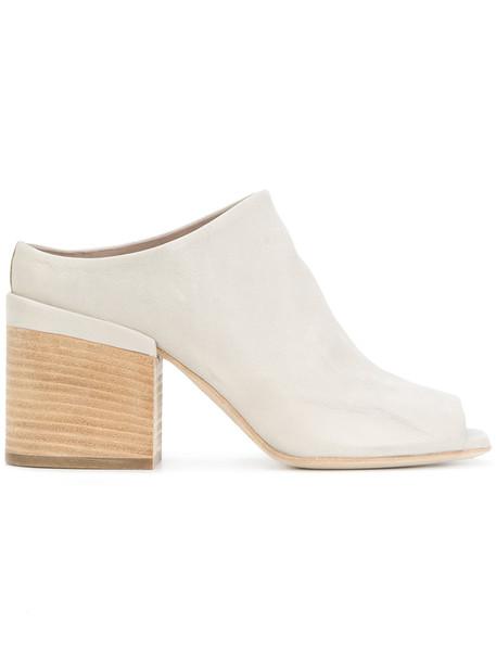 heel chunky heel women mules leather grey shoes
