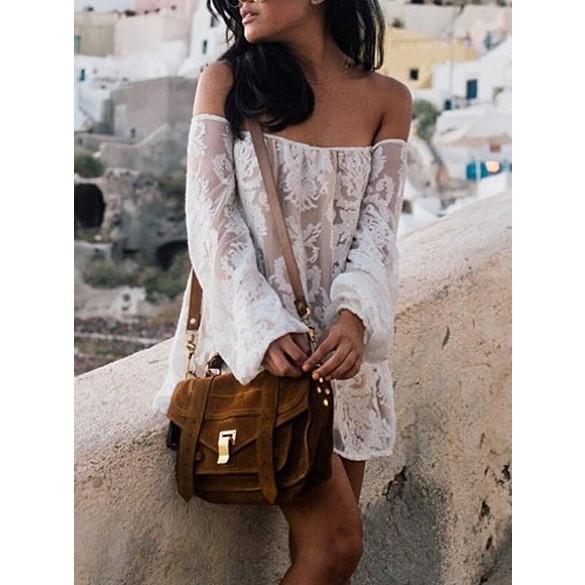 Shoulder boho dress