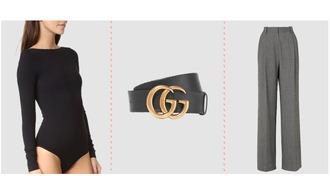 underwear bodysuit logo belt gucci belt herringbone wide-leg pants pants