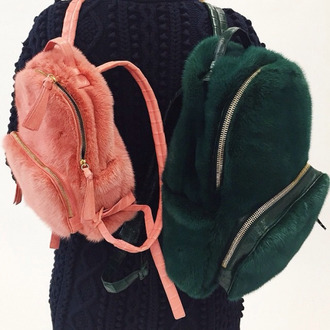 bag pink fur fluffy green shirt jeans two strap