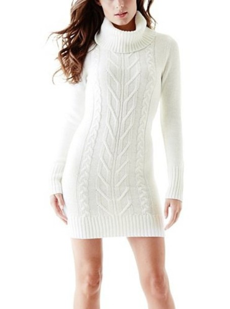 Dress: sweater dress, knitted dress, sweater, turtleneck ...