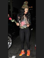 jacket,nike,black,tights,camouflage,orange,nike shoes,nike shirt,shirt,teyana taylor,hat,shoes