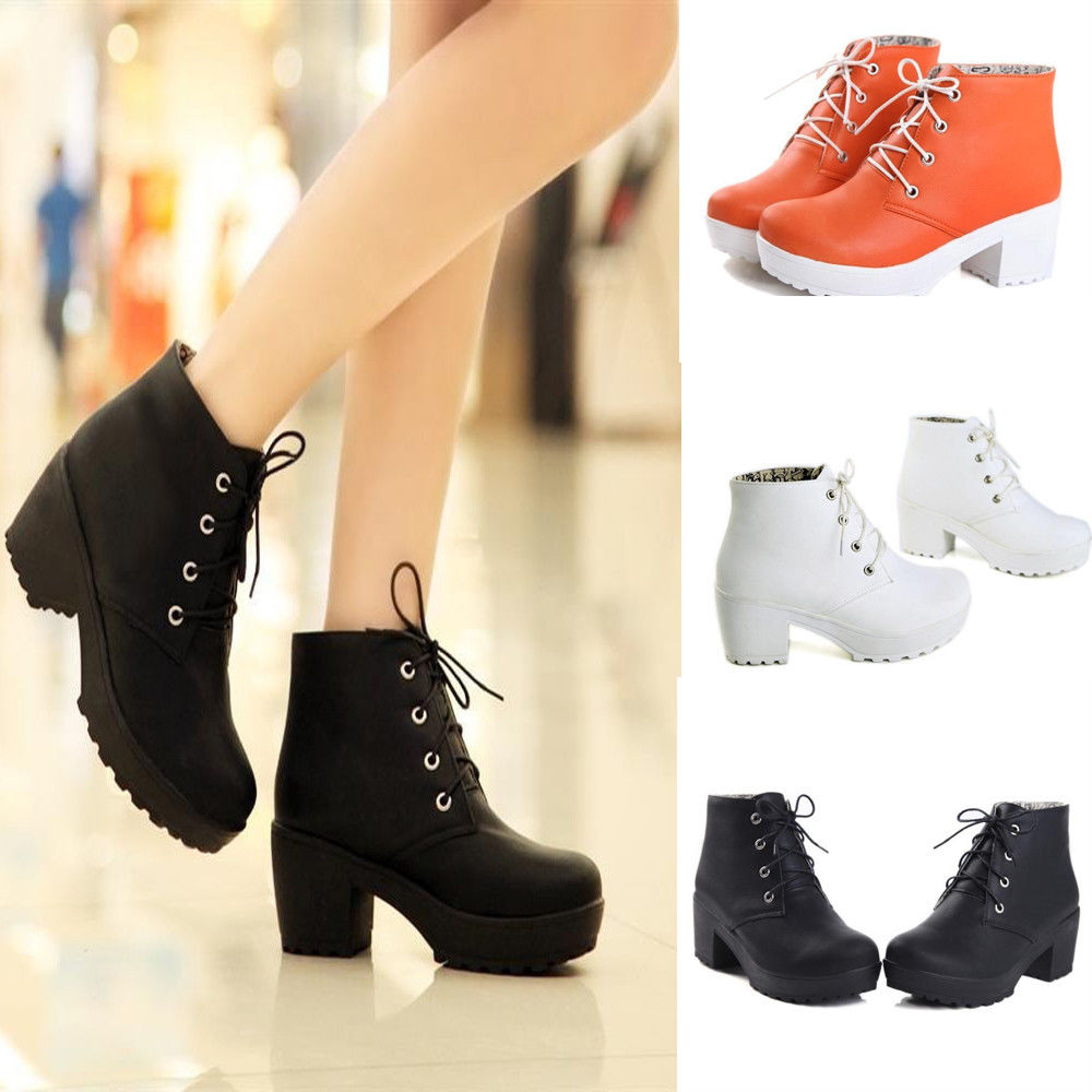 Women's Round Toe Lace Up Chunky Platform Block Heels