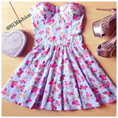 Dresses : blue flower dress s