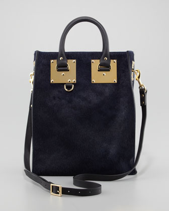 Sophie Hulme Mini Calf Hair Tote Bag, Navy - Neiman Marcus