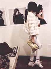 bag,gold golden fringe leather,coat