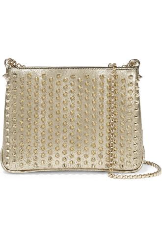 bag shoulder bag leather metallic gold