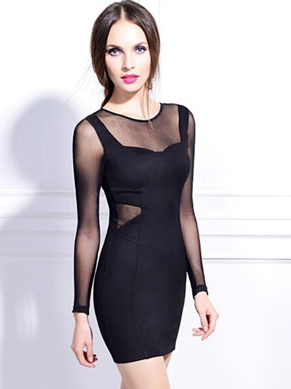 Black round neck sheath long sleeve hollow sexy dress : kisschic.com