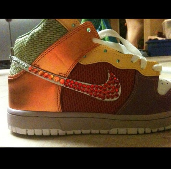 hip-hop shoes nike nike shoess orange basketball shoes girl sneakers nike sneakers hip hop shoes crystals green