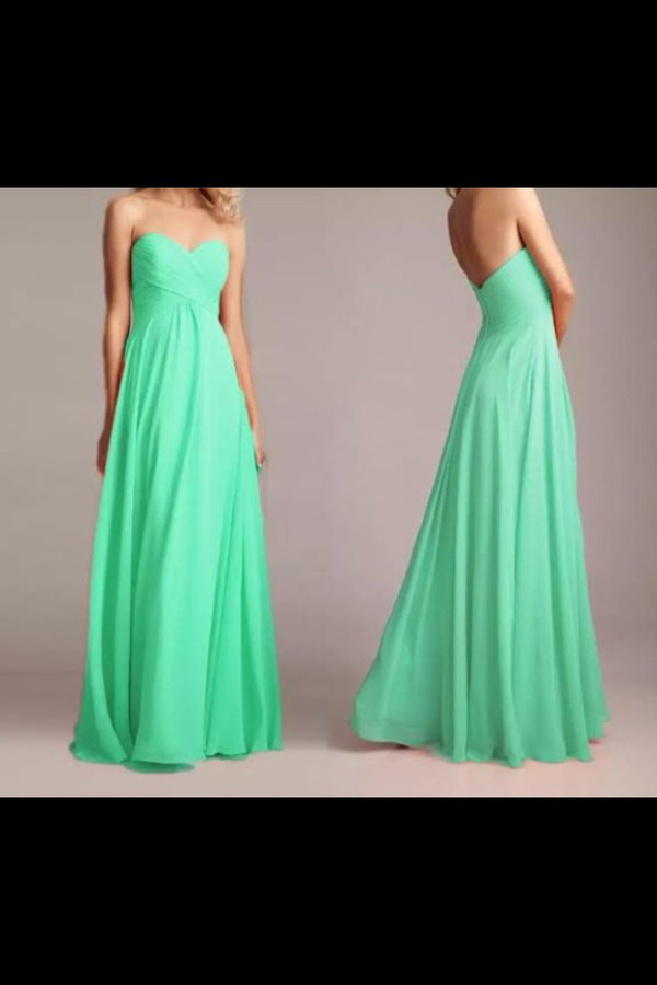 green prom dress flowy