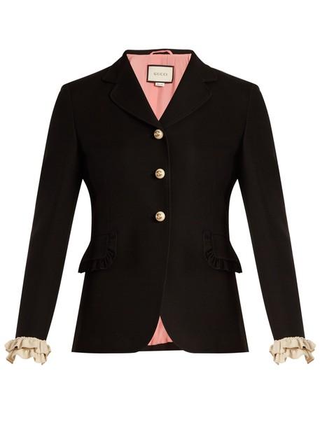 gucci jacket silk wool black cream