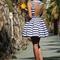 Blue stripe open back skater dress