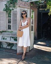 sunglasses,black sunglasses,dress,white dress,bag,shoes