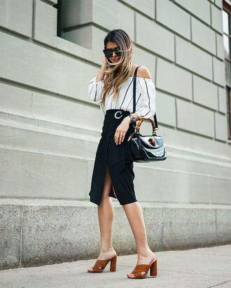 skirt the girl from panama black skirt striped top brown sandals black sandals crossbody bag striped off shoulder top black crossbody