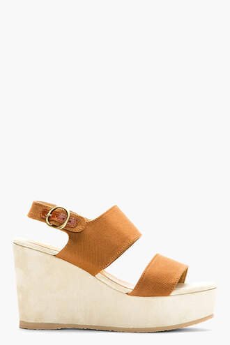 wedge women shoes sandals chestnut brown canvas suede