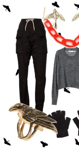 pants black pockets track workout adjustable tie high waisted top grey red cropped sweatshirt chainlink plastic blue plaid combat boots gold ring raven fingerless gloves