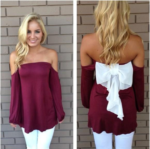 burgundy blouse back bow