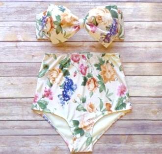 swimwear high waisted high waisted bikini floral summer swiming bowknot cute cute bikini
