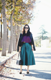 hallie daily,blogger,top,midi skirt,green skirt,purple,leather jacket,jacket,skirt,shoes,bag,sunglasses,jewels