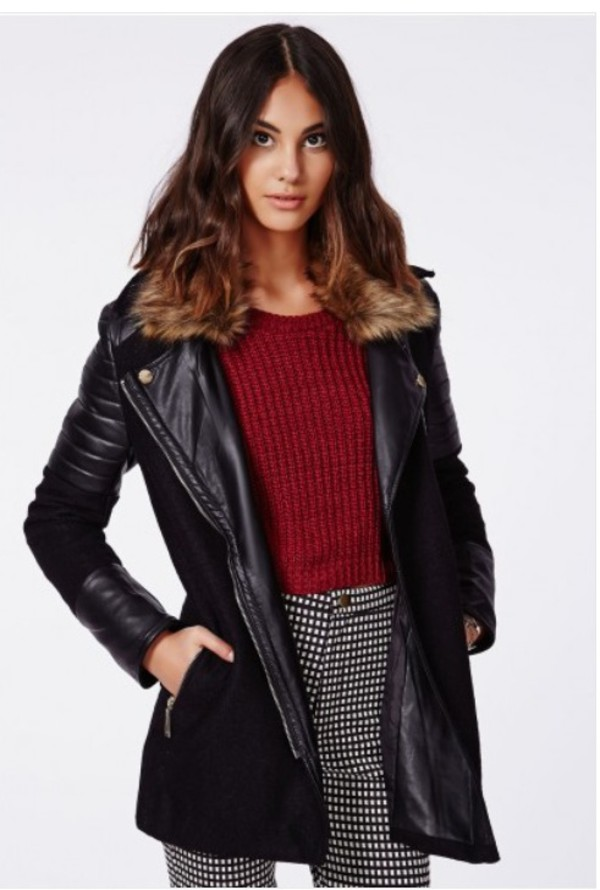 black fashion fur leather jacket