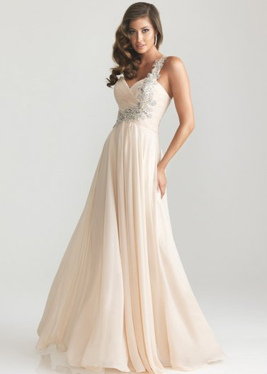 Long Pleated Beaded One Shoulder Champagne Night Moves Dress [Night Moves 6679 Nude] - $178.00 : Prom Dresses 2014 Sale, 70% off Dresses for Prom