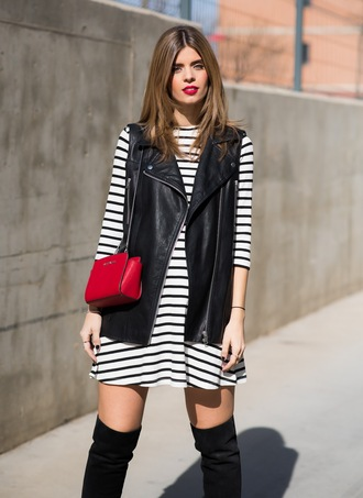 ms treinta blogger striped dress long sleeve dress mini dress black leather jacket sleeveless coat knee high boots suede boots