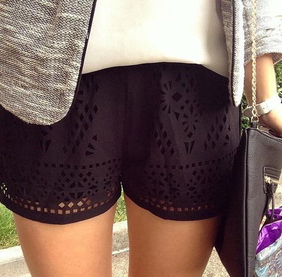 bag shorts black black shorts white cute girly white top black bags little bag