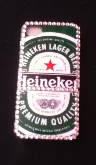 jewels beer hipster phone case iphone 4 case cute love diamonds heineken iphone case iphone4 studded iphone cover studded iphone case iphonecases rhinestone rhinestones