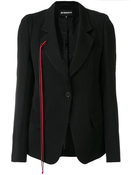 ANN DEMEULEMEESTER blazer women cotton black wool red jacket