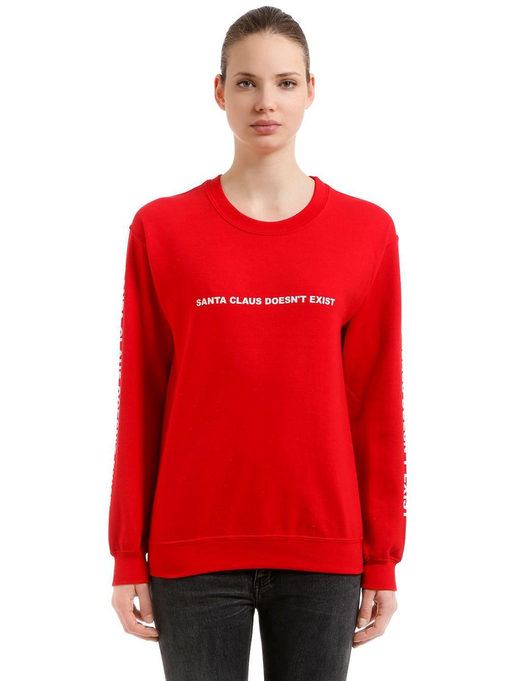 TABOO No Santa Cotton Blend Sweatshirt in red