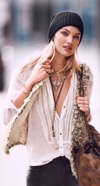 cardigan vest fur vest boho chic boho style